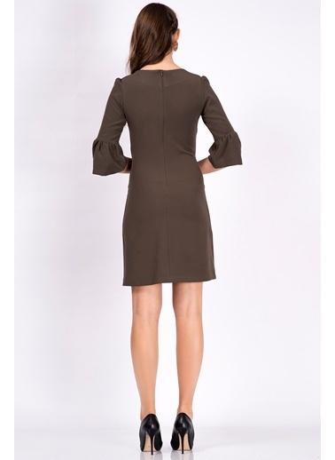 İroni İspanyol Kollu Mini Elbise Haki